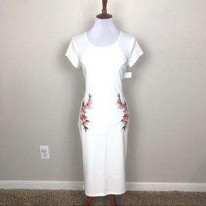 Bailey blue bodycon white sheer cutout dress NWT